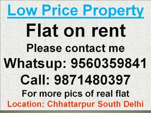 3bhk flat on rent without commission in chattarpur